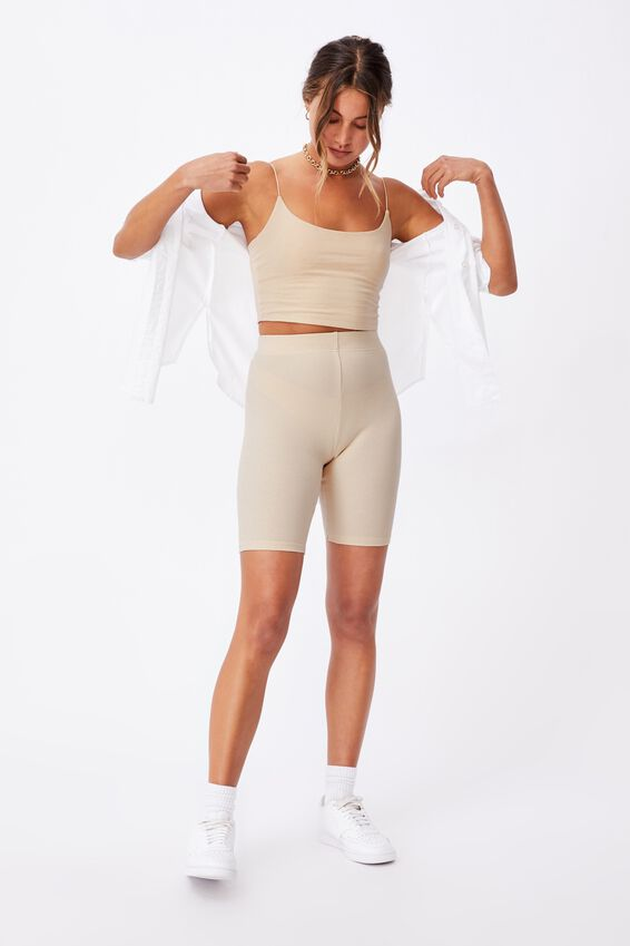 Emmy Rib Bike Short, SANDSTONE