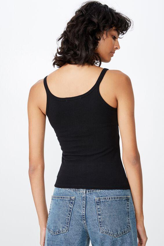 Karen Longline Button Rib Singlet, BLACK