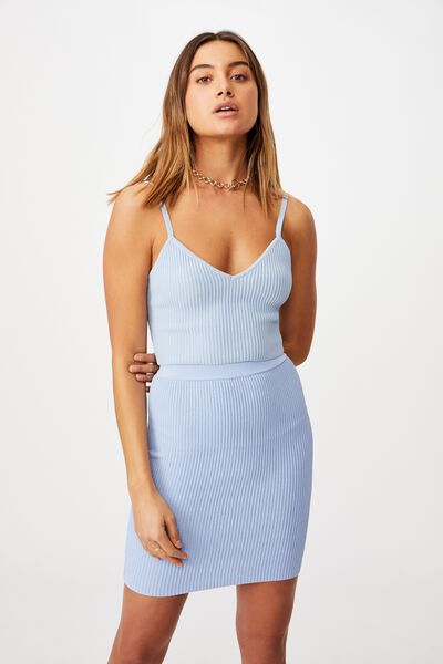 Mina Tube Skirt Co Ord, BLUE PETAL