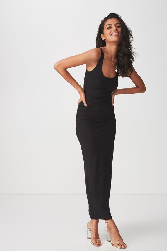 Basic Maxi Dress, BLACK