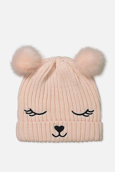 Novelty Faux Fur Knitted Beanie, BUNNY