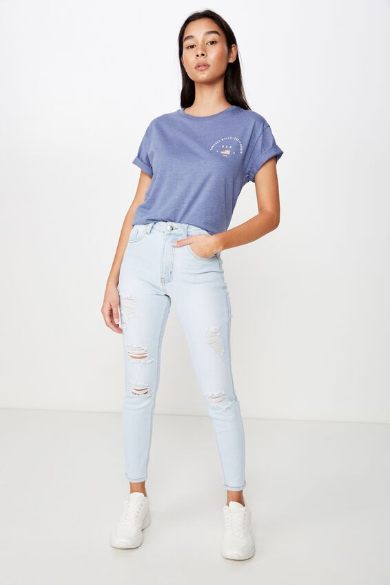 Beverly Hills Tee, JEAN BLUE MARLE/BEVERLY HILLS