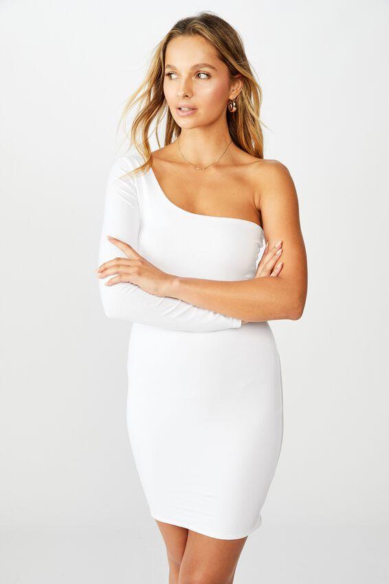 Madison One Shoulder Long Sleeve Dress, WHITE