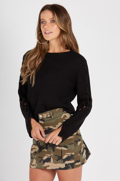 Lace Up Back Knit Top, BLACK