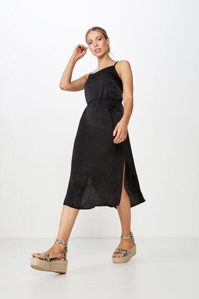 Bella Midi Dress, BLACK