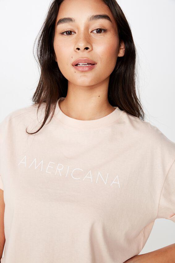 Americana Crop Tee, PINK FLOSS/AMERICANA