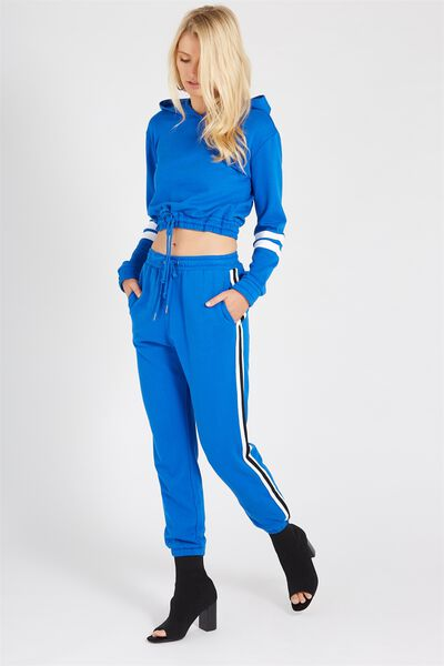 Basic Side Stripe Sweat Pant, COLBALT