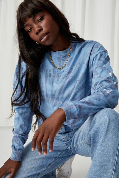 Freddie Printed Oversized T Shirt, TIE DYE (CRLNA BLUE/WSHD NAVY)/BUTTERFLYS