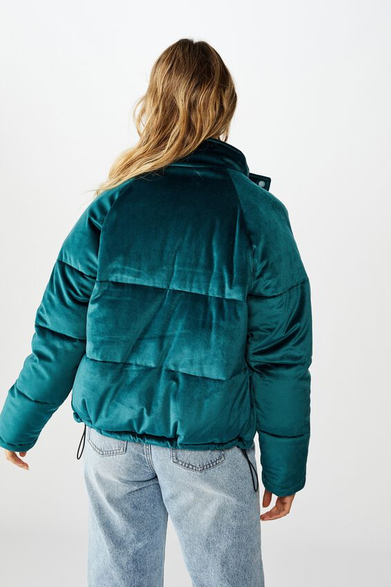 Cosy Puffer Jacket, TEAL GREEN