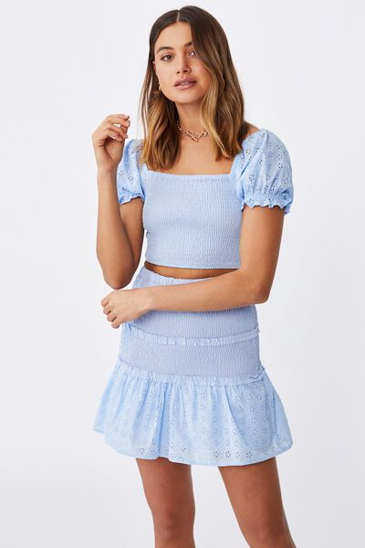Tiffany Shirred Puff Sleeve Top, BLUE PETAL