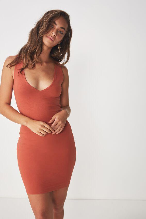 V Neck Mini Dress, COPPER