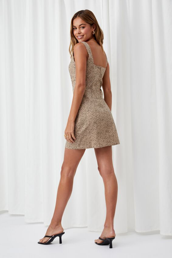 Capri Fitted Square Neck Mini Dress, ISLA LEOPARD BISCUIT BLACK