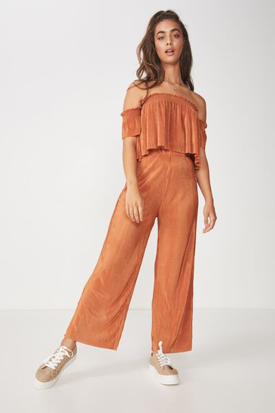 Party Plisse High Waist Pant, TOFFEE