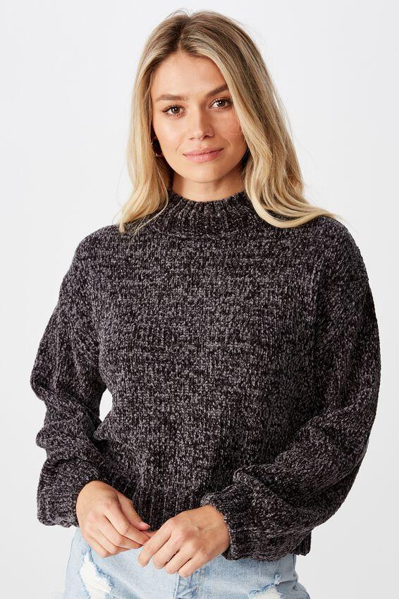 Vera Chenille Mock Neck Sweater, GRANITE GREY