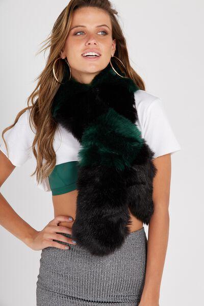 Faux Fur Scarf, FOREST GREEN STRIPE
