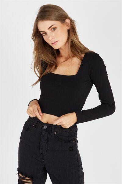 Basic Square Neck Crop Top, BLACK