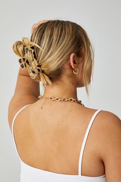Katya 2 Pack Rectangle Hair Claw, MOCHA/BEIGE TORTOISE SHELL