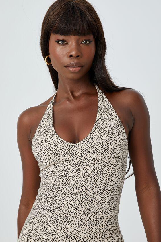 Uma Halter Mini Dress, LENA LEOPARD ALMOND BLACK