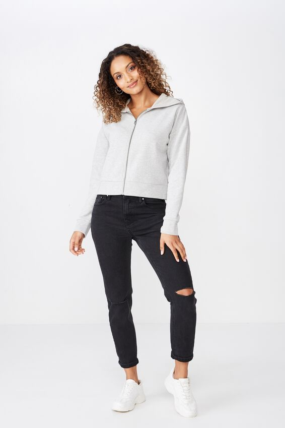 Sammy Hoodie Zip Sweat, GREY MARLE