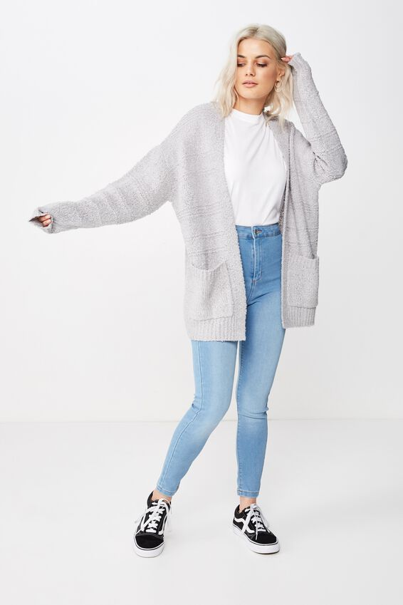 Lana Textured Knit Cardigan, GREY MARLE