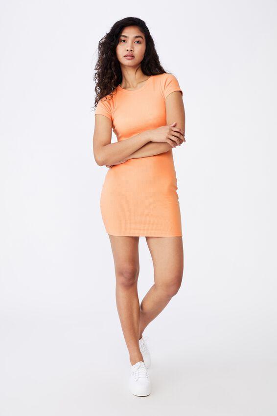 Lucia Rib Tee Mini Dress, BLUSH CORAL