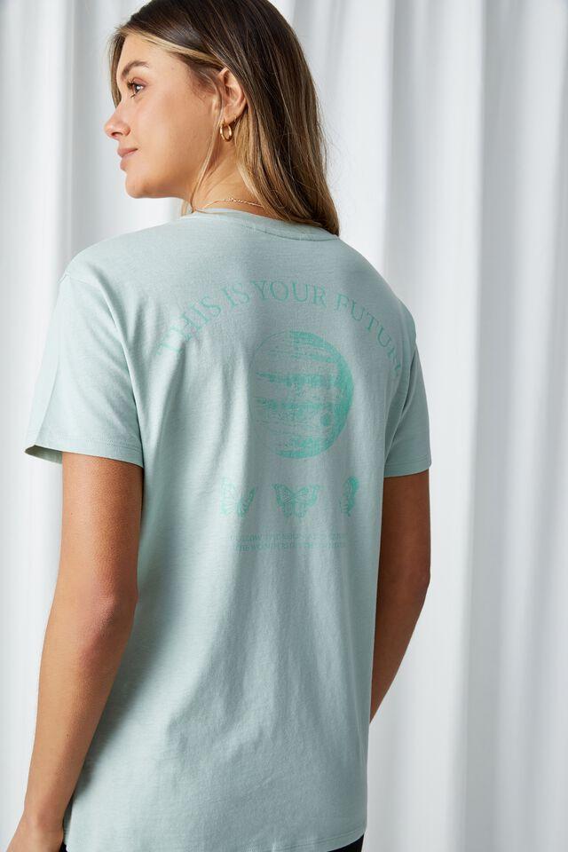 Butterfly Longline T Shirt, MINTY GLOW/BUTTERFLY FUTURE