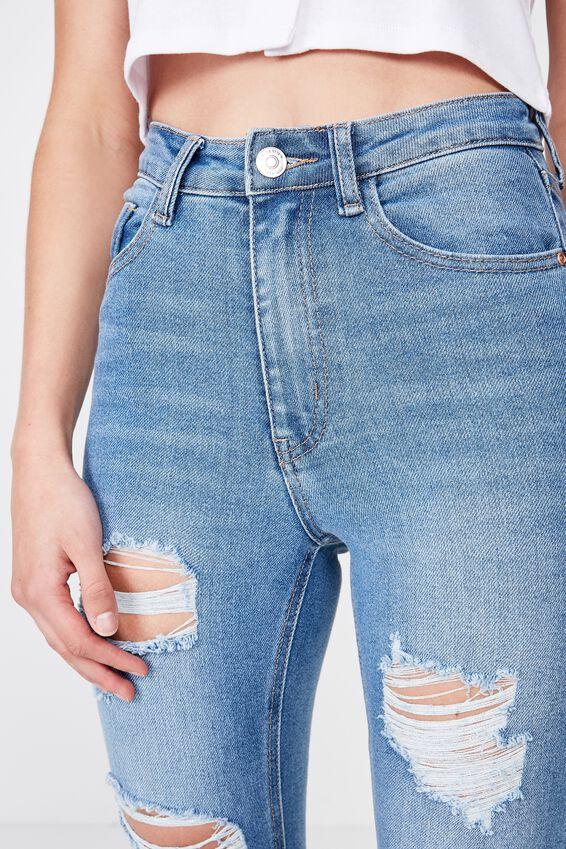 Long Skinny Premium Ripped Jean, BALTIC BLUE