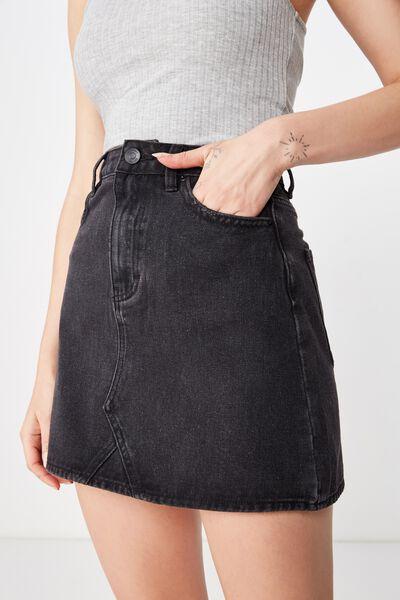 The Blair Aline Denim Skirt, BLACK WASH CLEAN