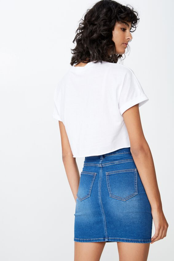 Chloe Stretch Denim Mini Skirt, REBEL BLUE