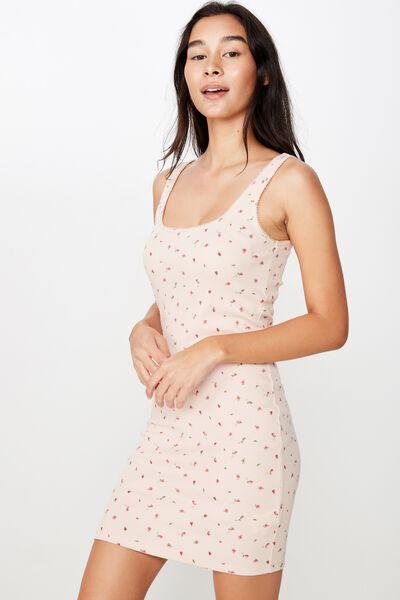 Helly Trim Mini Dress, KIKI DITSY (DIV PNK/RED)