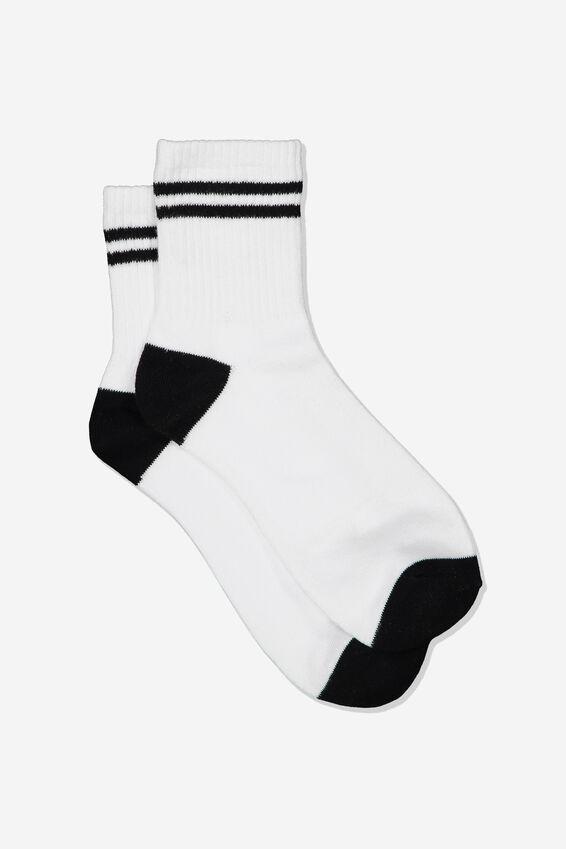 Stripe Sporty Crew Socks, WHITE/BLACK