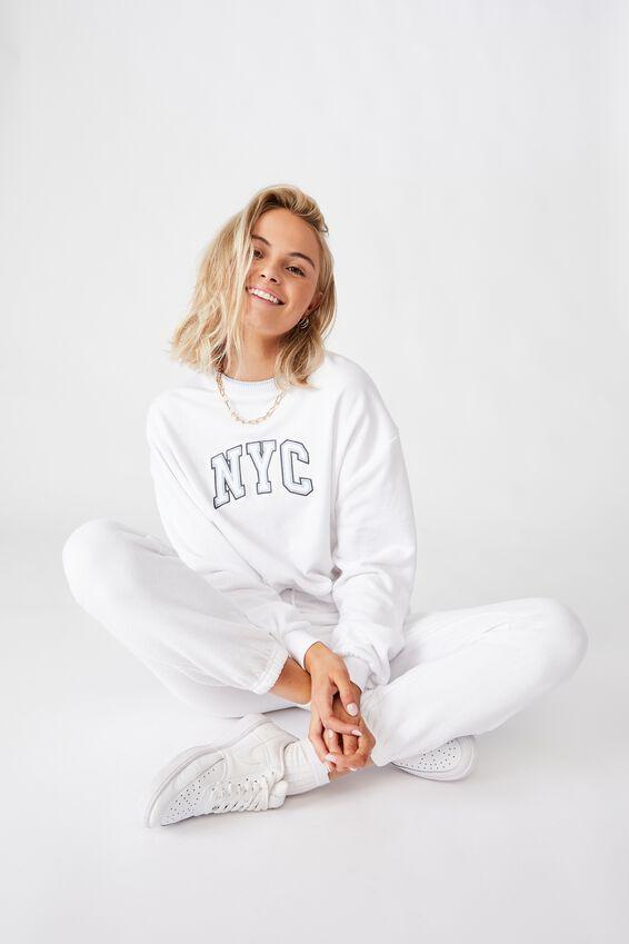 Crop Crew Neck NYC Jumper, WHITE/NYC COLLEGIATE