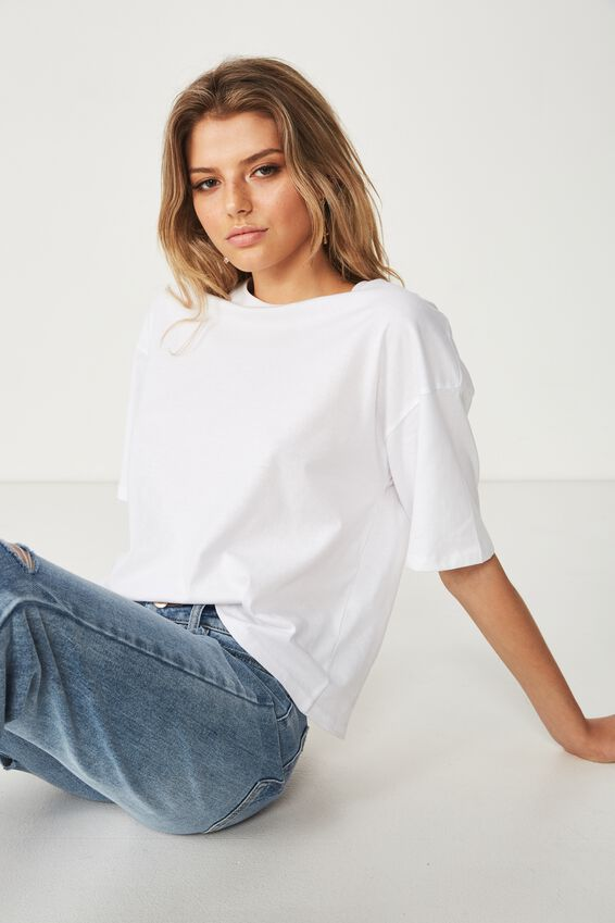 Chopped Boyfriend Tee, WHITE
