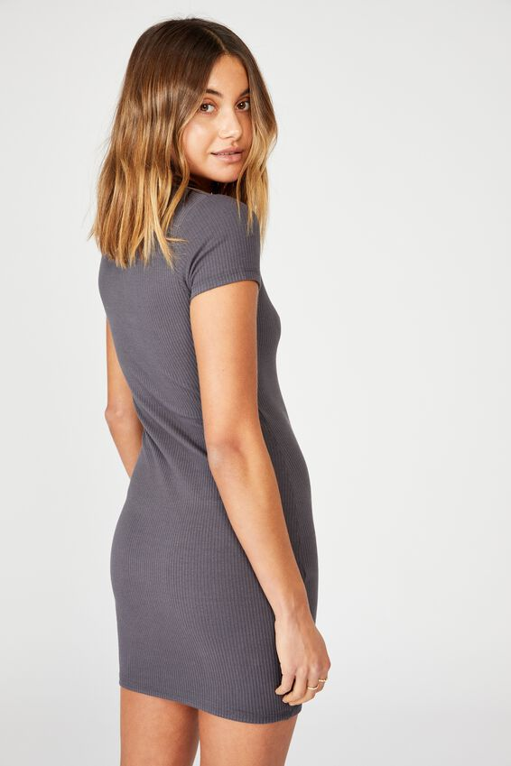 Lucia Rib Tee Mini Dress, EBONY GRANITE GREY