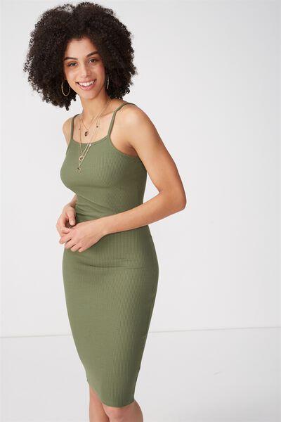 Square Neck Rib Midi Dress, KHAKI