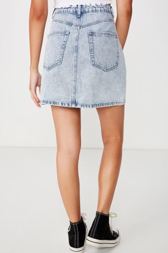 The Blair Aline Denim Skirt, INDIGO ACID EXPOSED BUTTON