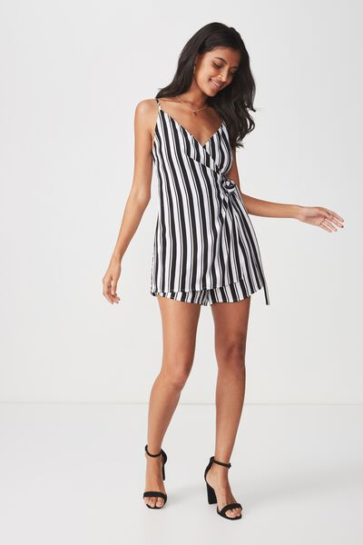 Wrap Front Side Tie Playsuit, HARLEY MONO STRIPE