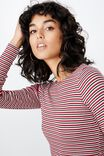 Jayla Long Sleeve Crew Neck Top, PRIS STRIPE (CHERRY WINE/WHITE/BLACK/VINTAGE PINK)
