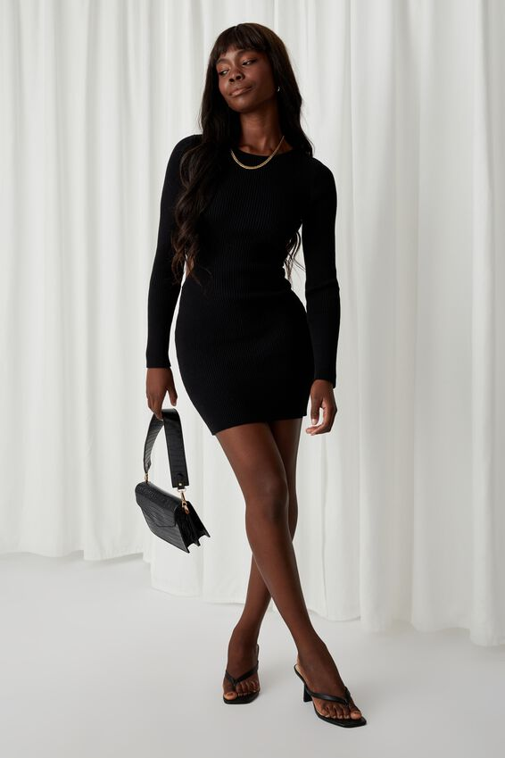 Raven Cutout Mini Dress, BLACK