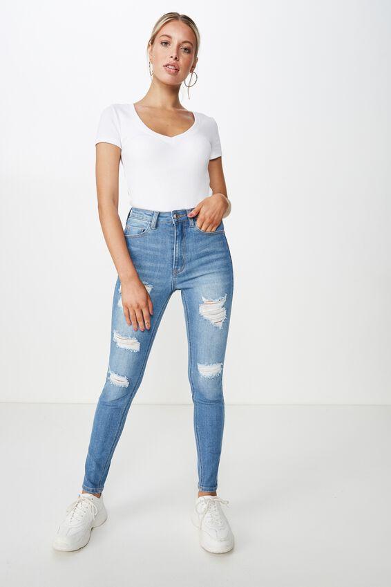 Skinny Premium High Rise Ripped Jean, BALTIC BLUE