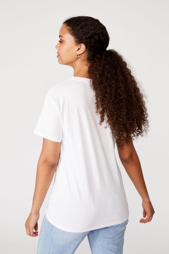 Lola Printed Longline T Shirt, WHITE/KISSING ANGELS