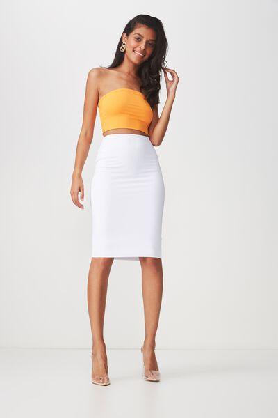 Party Midi Bodycon Skirt, WHITE