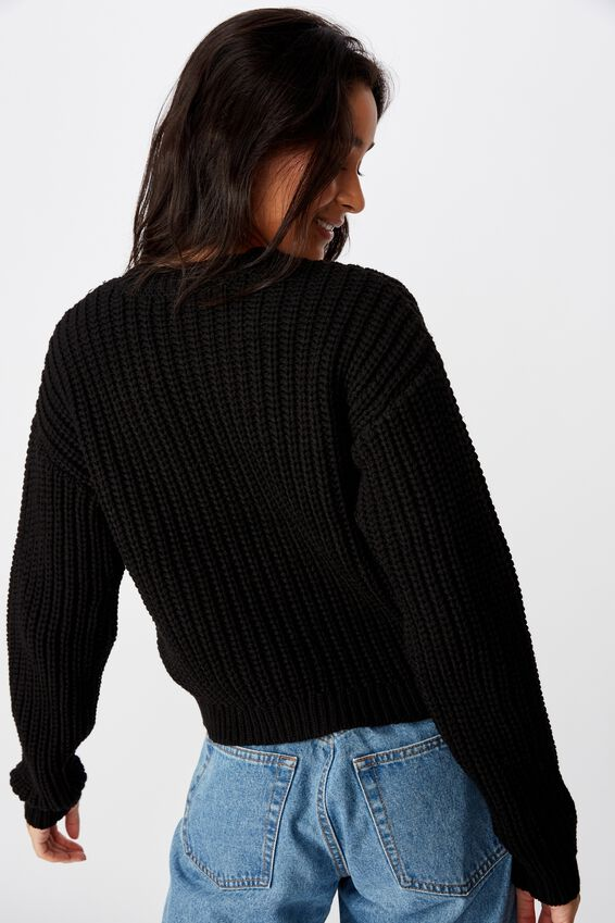 Lennon Crew Knit Sweater, BLACK