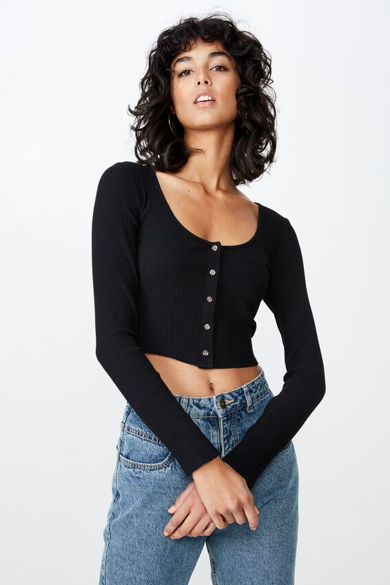 Scoop Neck Long Sleeve Rib Top, BLACK