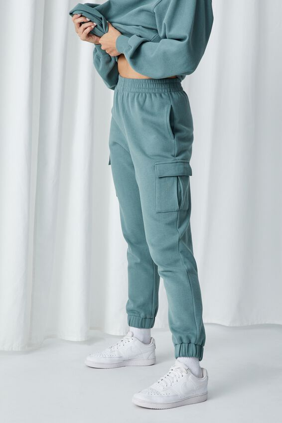 Kayleigh Cargo Track Pant, VALLEY GREEN