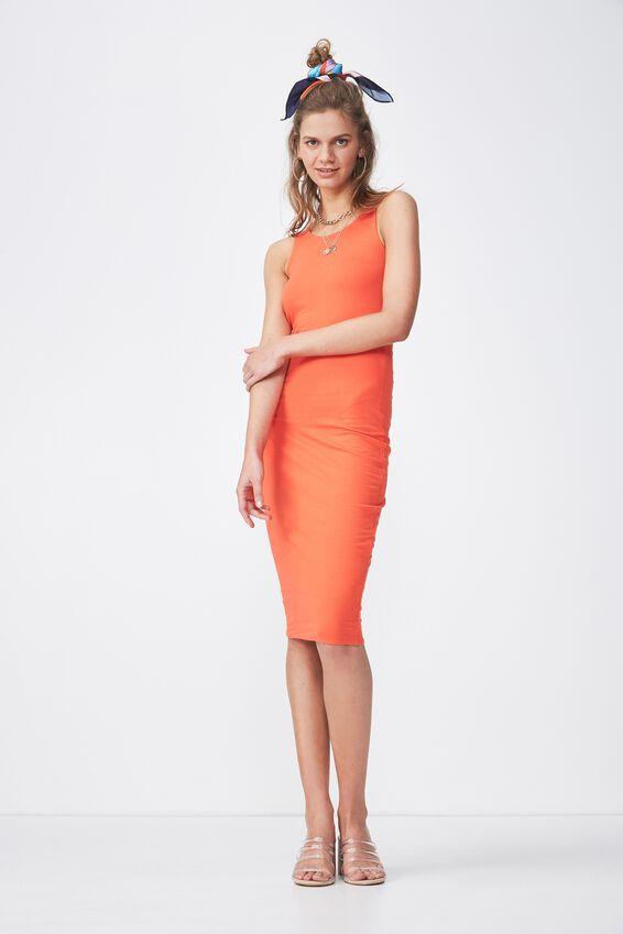 Sleeveless Midi Dress, TANGERINE