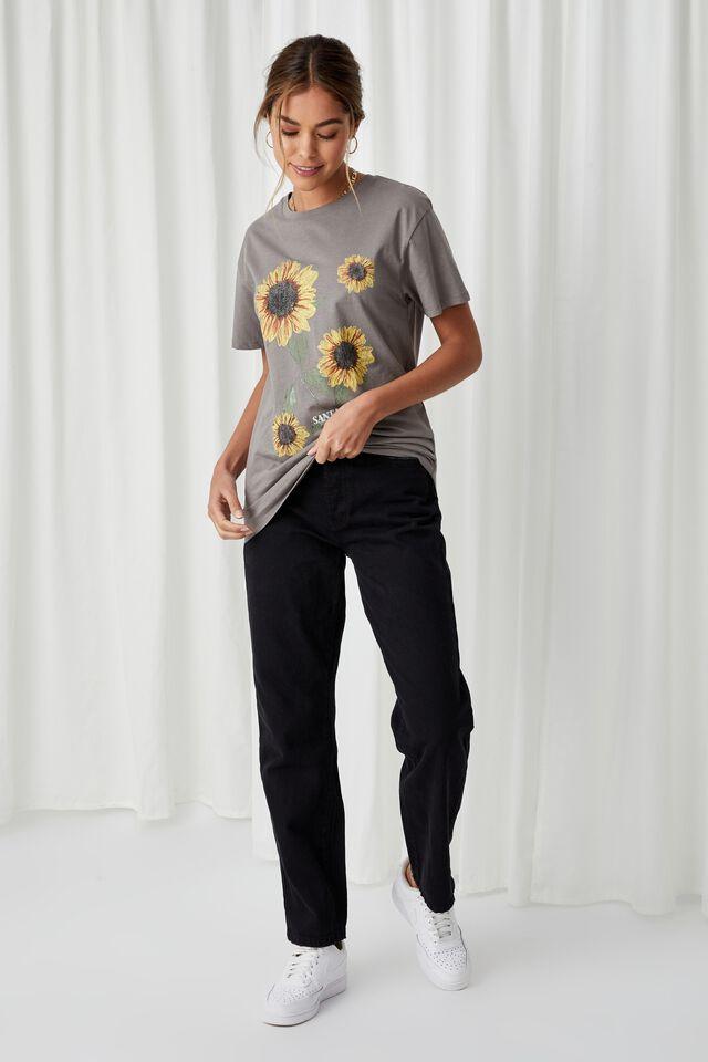 Sunflower Longline T Shirt, CEMENT GREY/SUNFLOWERS