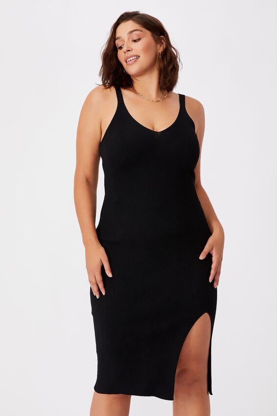 Ivy Knit Midi Dress, BLACK