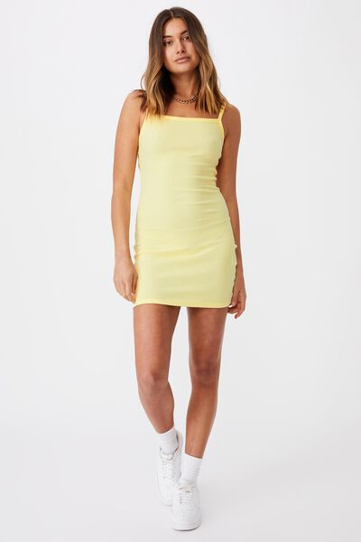 Emery Rib Mini Dress, MELLOW YELLOW