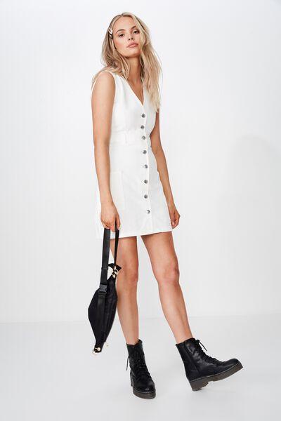 Monica Button Through Denim Dress, WHITE